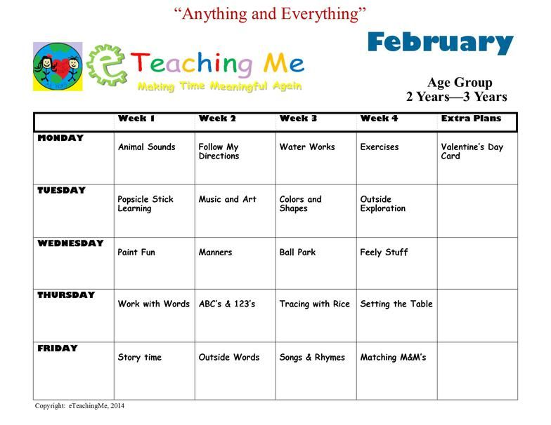 Sample Curriculum Calendar Of Lesson Plans Education Kids