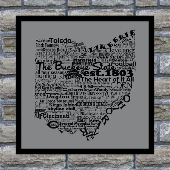 Ohio State Word Art Typography Print The Buckeye State Ohio State Pride Ohio State Decor Ohio State Word Art Typography Word Art Ohio State