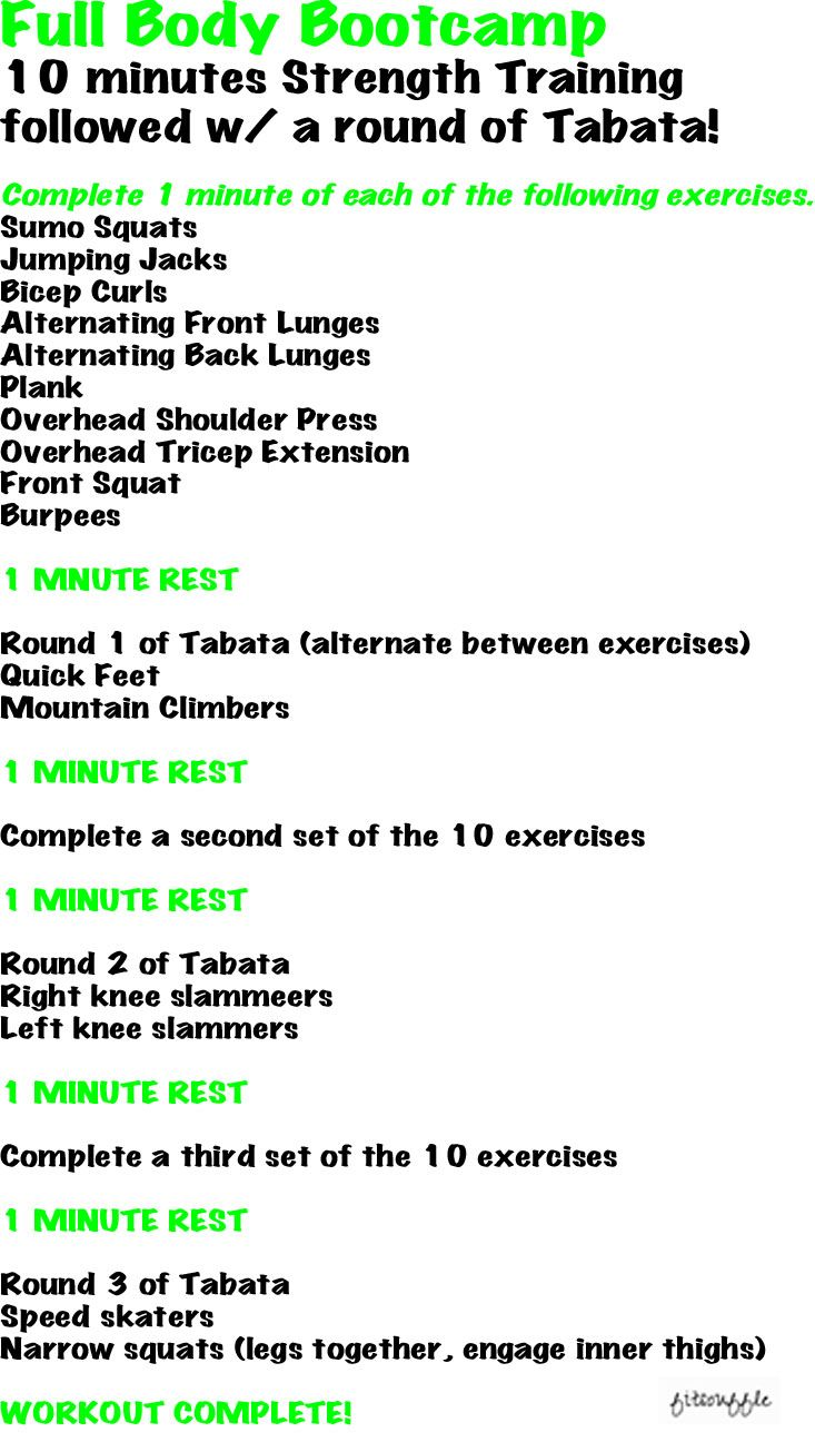 Full Body Bootcamp w/ Tabata! | Full body home workouts | Pinterest ...