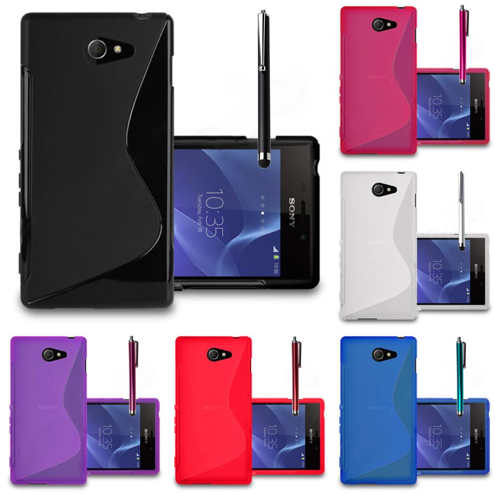 Case Sony Xperia M2 Dual Protection Cover For D2303 D2305 Silicone Flip