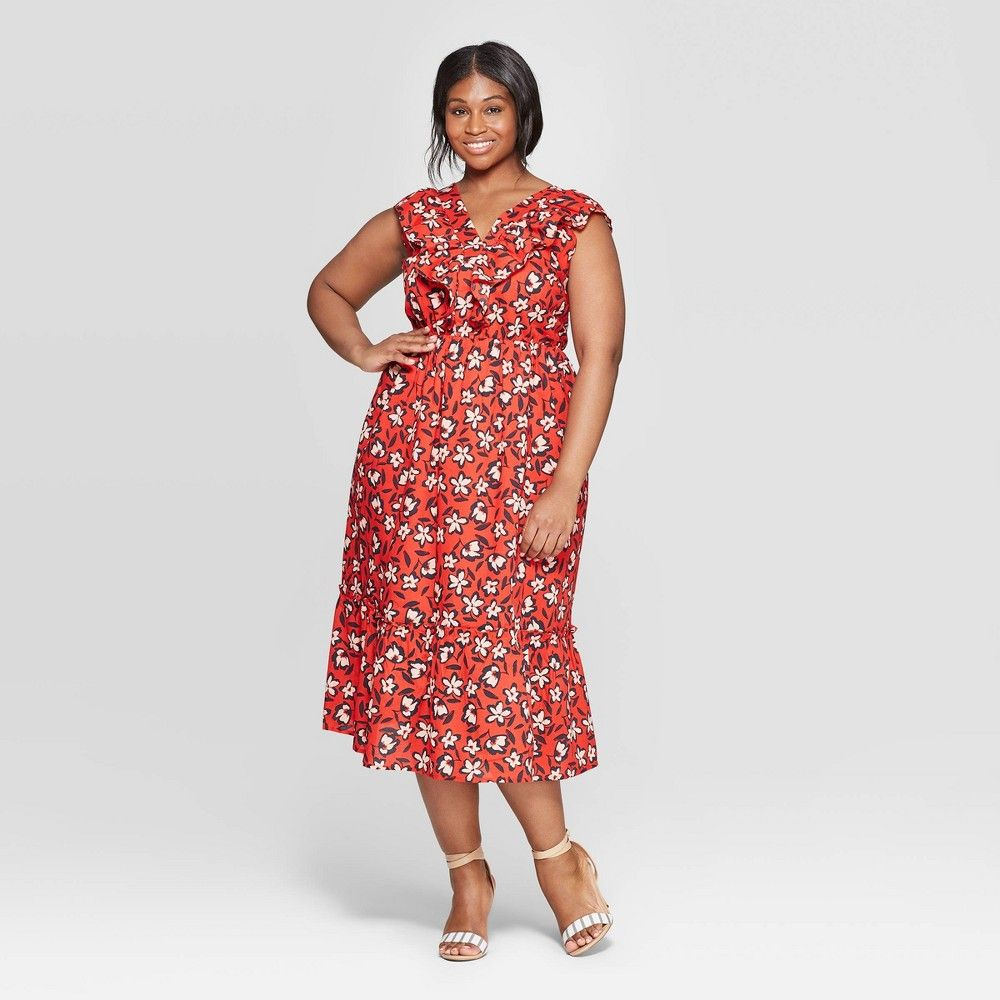 Women S Plus Size Floral Print Sleeveless Ruffle V Neck Maxi Dress Who What Wear Red Hot 2x In 2021 Maxi Dress Knit Midi Dress Pleated Midi Dress [ 1000 x 1000 Pixel ]