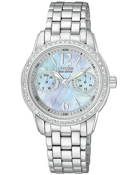 Citizen Eco Drive Ladies Silhouette Crystal Watch Mop Dial Stainless Crystal Watches Stainless Steel Bracelet Bracelet Watch