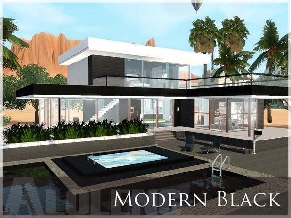 Modern Black House By Aloleng   Sims 3 Downloads CC Caboodle