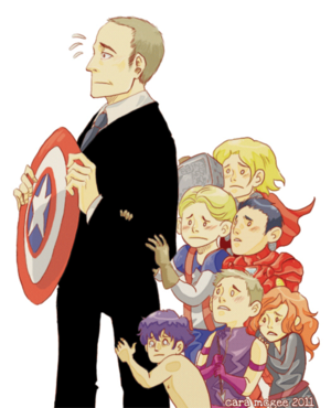 Baby Avengers being protected by S.H.I.E.L.D., by Cara McGee    Phil Coulson, Thor Odinson, Steve Rogers, Tony Stark, Clint Barton, Natasha Romanoff, Bruce Banner    300px × 370px    #fanart