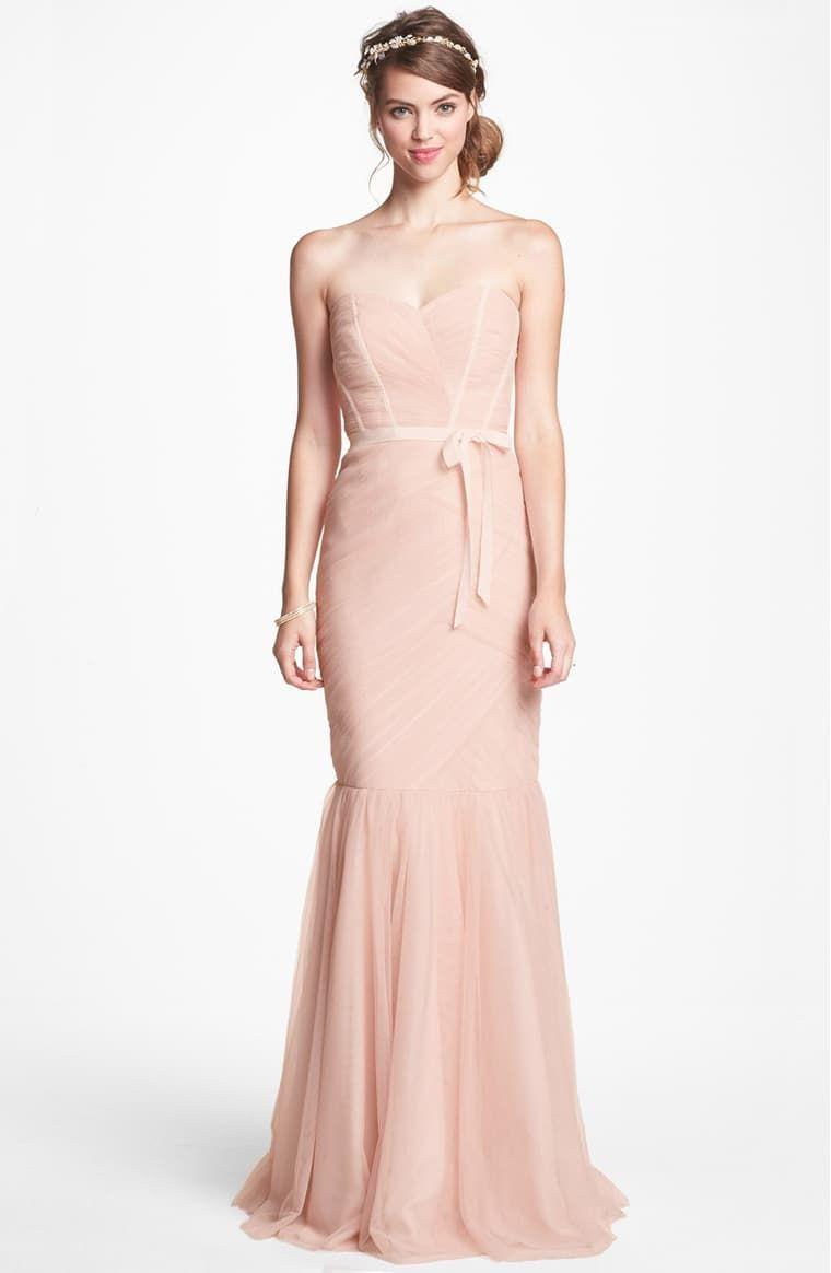 Monique Lhuillier Bridesmaids Strapless Tulle Trumpet Dress   Nordstrom -   15 dress Coctel monique lhuillier ideas