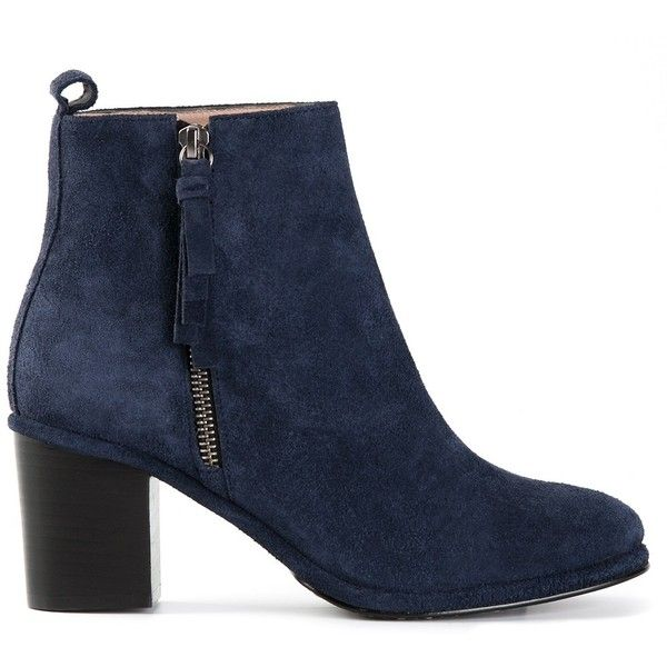 Opening Ceremony 'Shirley' ankle boot (£175) ❤ liked on Polyvore featuring shoes, boots, ankle booties, booties, opening ceremony, blue, blue bootie, chunky booties, suede ankle booties and ankle boots