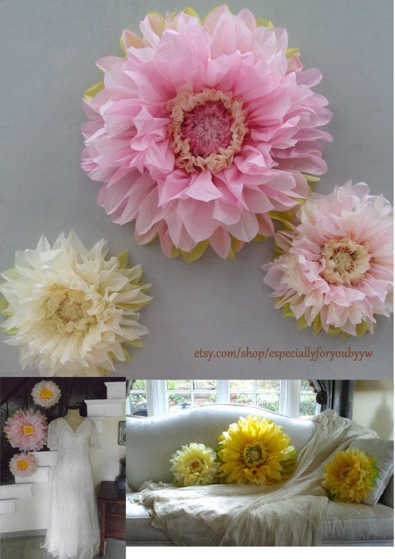 First Birthday Decorations Set Of 3 Giant Paper Flowers Pink
