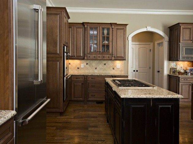 center island with granite and built in gas range top glass accent doors on cabinets kitchen on kitchen cabinets with glass doors on top id=12810
