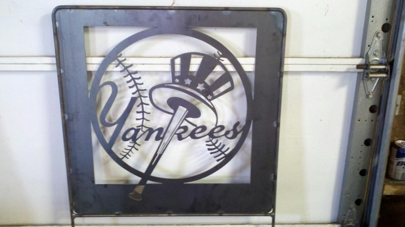 Www Facebook Com Wcm Metalworks 2x2 Yard Sign 55 Tax Any Team Name Design New York Yankees Mlb Baseball Custom Steel M Metal Art Metal Signs Metal