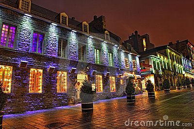 Christmas night scene of Old Montreal, Quebec, Canada Place ...