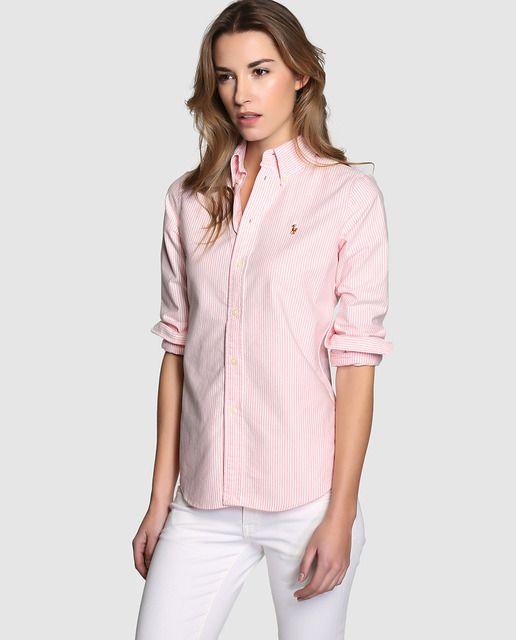 3e19ad583b7 Camisa de mujer Polo Ralph Lauren con manga larga y estampado de ...