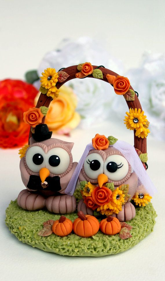 Owl wedding custom cake topper love birds with by PerlillaPets