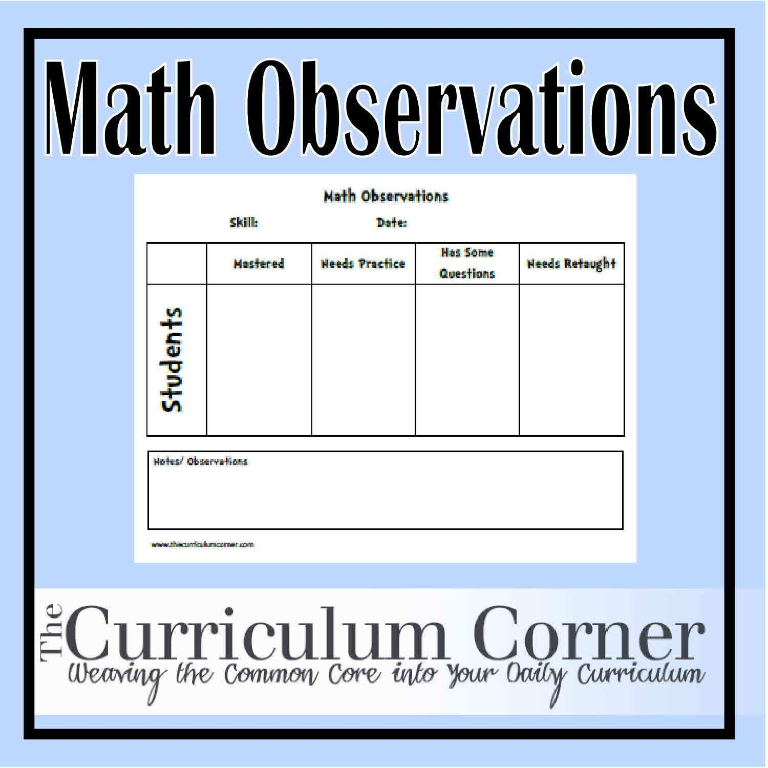 Math Observations Recording Sheet