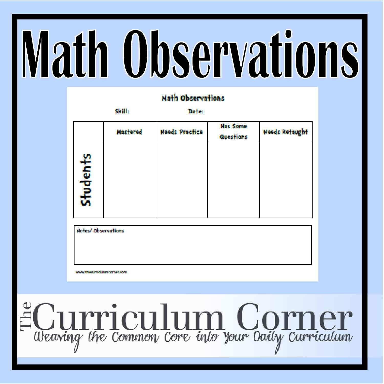 Math Observations Recording Sheet
