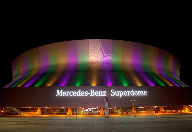 new orleans mercedes benz superdome s new lights with mardi gras colors photo by times pi new orleans louisiana new orleans saints football down in new orleans new orleans saints football