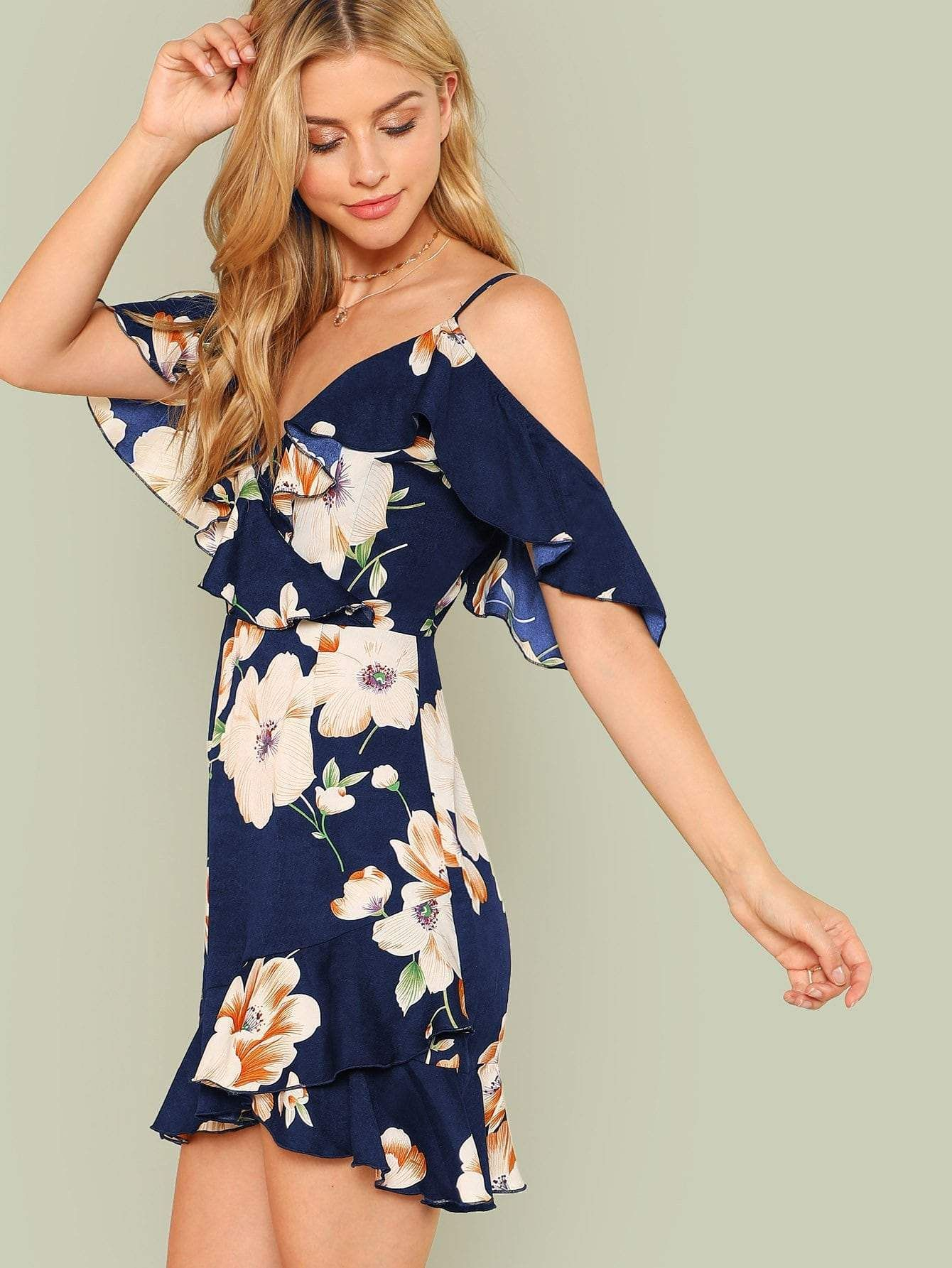 Flounce Cold Shoulder Ruffle Hem Floral Dress Cold Shoulder Floral Dress Boho Bohemian Dress Printed Summer Dresses [ 1785 x 1340 Pixel ]
