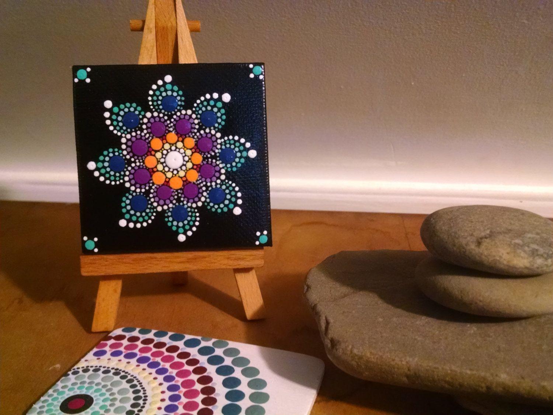 colorful dot art flower mandala original hand painted canvas unique home decor gift ideas. Black Bedroom Furniture Sets. Home Design Ideas