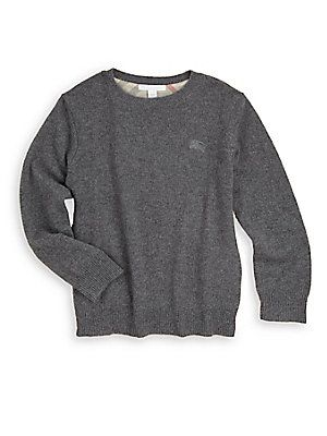 Burberry Little Boy's Cashmere Check Patch Sweater - Grey