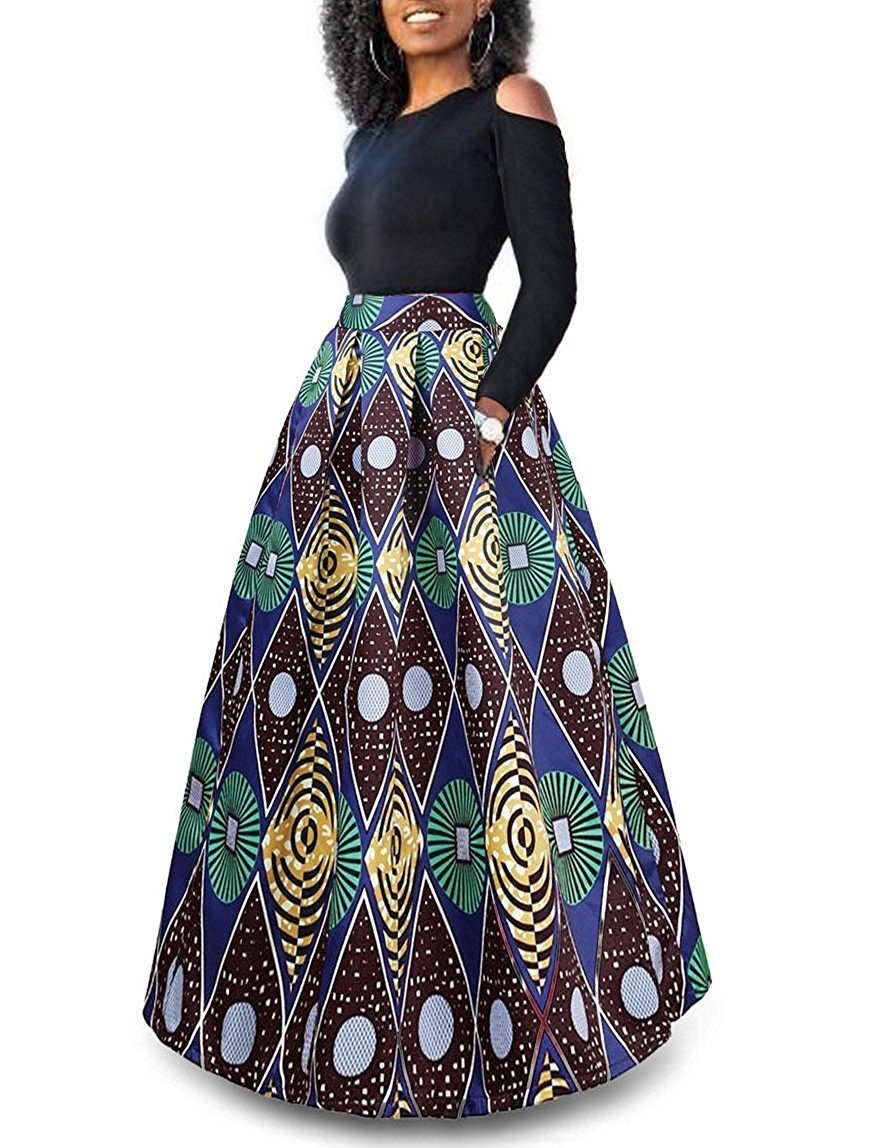Two Piece African Floral Print Maxi Skirt African Fashion Skirts Printed Maxi Skirts Skirt Fashion [ 1148 x 876 Pixel ]