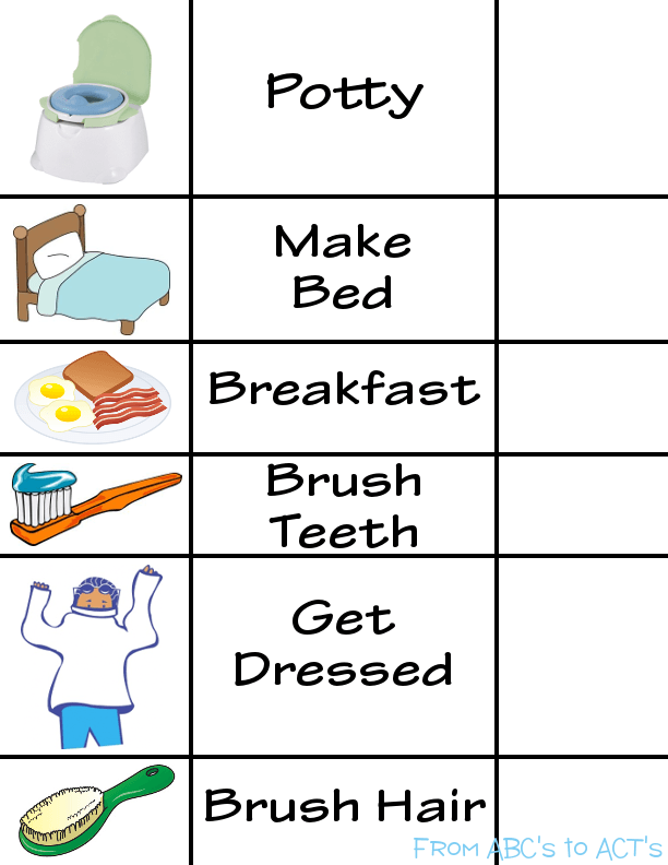Printable Morning Routine Visual Schedule From Abc S To Act