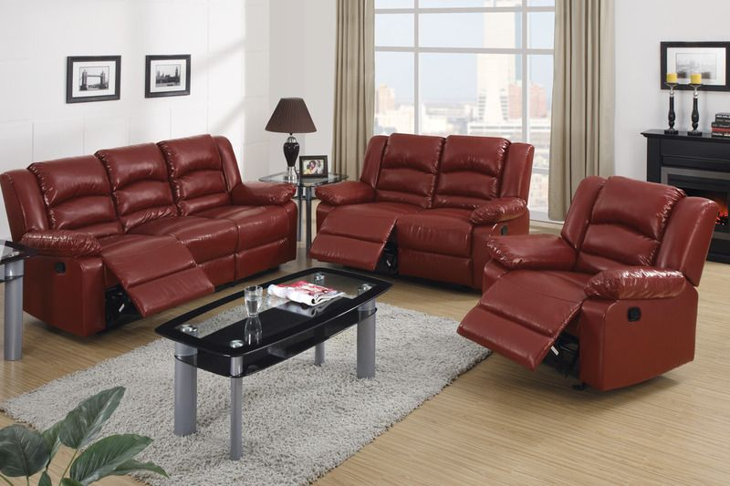 Tufted Sofa Modern Burgundy Leather Reclining Sofa Loveseat Motion Couch Living