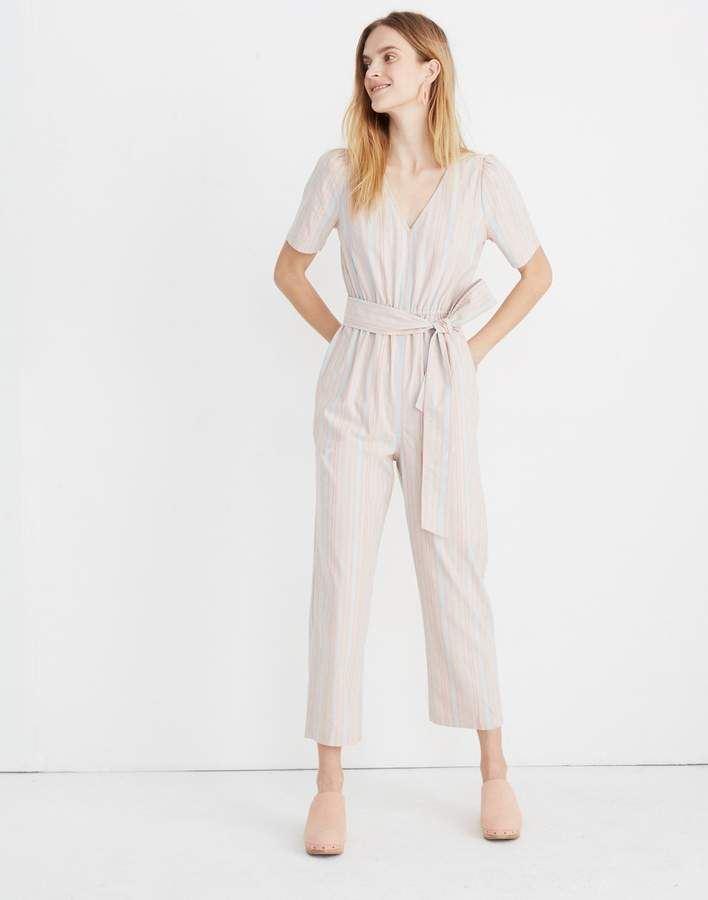 21ab030af442 Madewell Tall Striped Puff-Sleeve Tapered Jumpsuit in 2019 ...