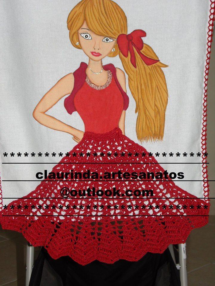 pano de prato vermelho | pintura é crochê | Pinterest