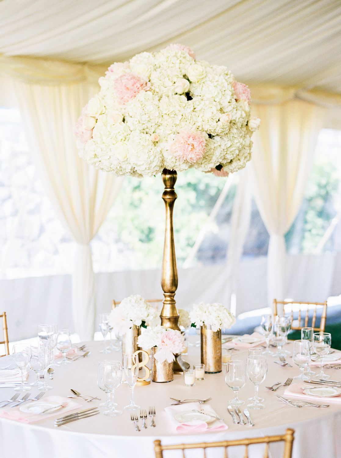 Blush Peony and Hydrangea Centerpiece | photography by http://www ...
