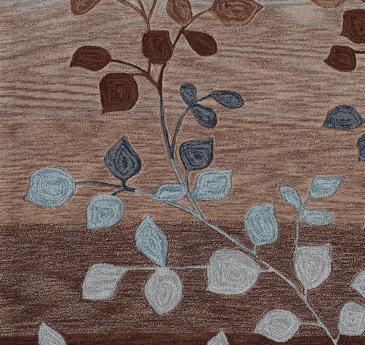 Modern Contemporary Area Rugs Rug Carpet Mocha Blue 2 X 5 Runner Stripes