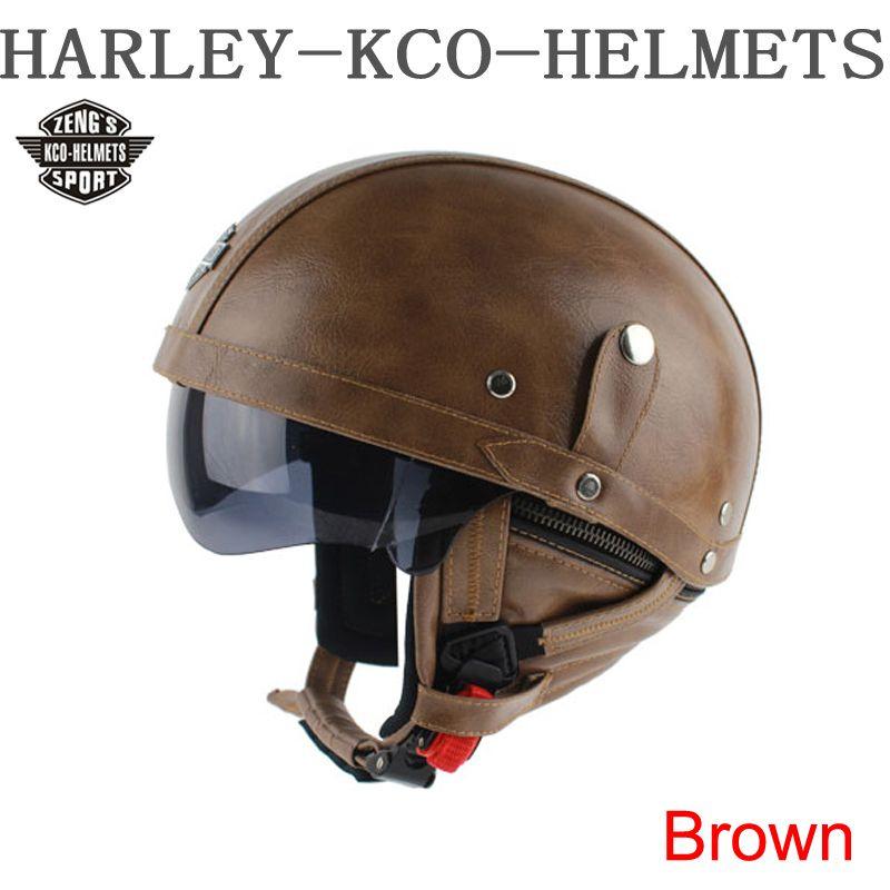 Kco Manual Customization Motorcycle Scooter Half Face Leather Halley Helmet Classic Retro Brown Helmets Retro Helmet Vintage Helmet Leather Motorcycle Helmet