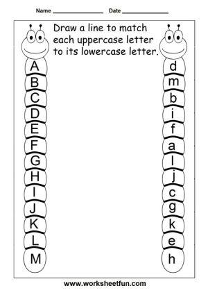 Upper Case And Lower Case Matching Preschool Learning Preschool Worksheets Kindergarten Worksheets Preschool uppercase letter worksheets