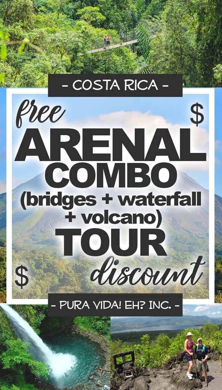 Use our free Arenal Combo Tour discount (hanging bridges, waterfall, and volcano) to save money while exploring La Fortuna in Costa Rica! Costa Rica discounts courtesy of Pura Vida! eh? Inc. #costarica #discount #discounts #travel #traveltips #cheaptravel #savingmoney #traveldiscounts #costaricatravel #costaricadiscounts #puravida #puravidaeh #vacation #lafortuna #arenal #combo #hangingbridges #waterfalls #volcanoes #wanderlust #adventure #nature #fun