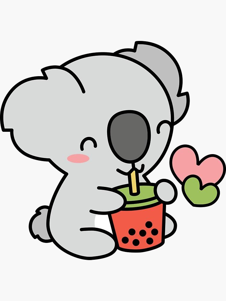 Cute Koala Bear Sipping Bubble Tea Kawaii Boba Pattern Sticker By Bobateame Cute Koala Bear Koala Bear Kawaii Drawings
