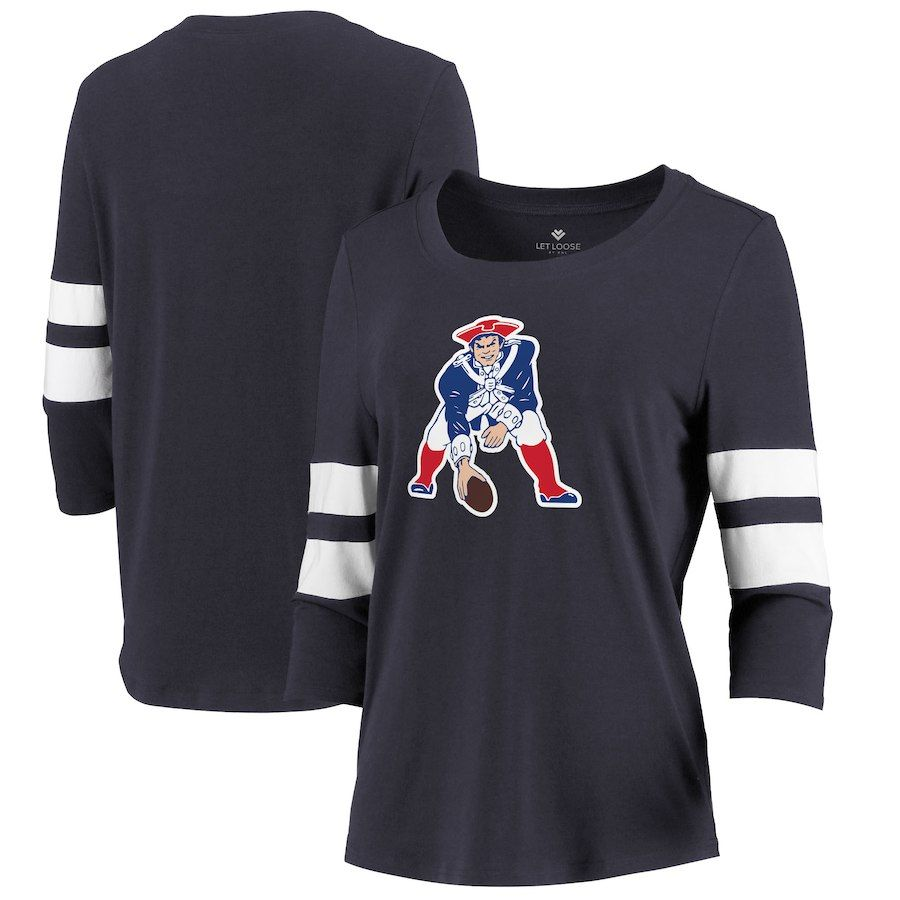 New England Patriots Let Loose By Rnl Women S Team Logo Stripe Tri Blend 3 4 Sleeve T Shirt Navy Patriotic Shirts Shirts Long Sleeve Tshirt Men