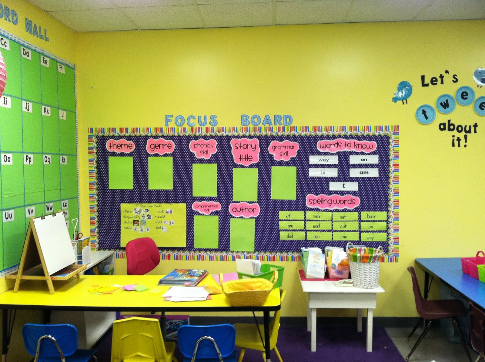 Life in First Grade\'s Focus Wall, word wall and tweet about it board ...