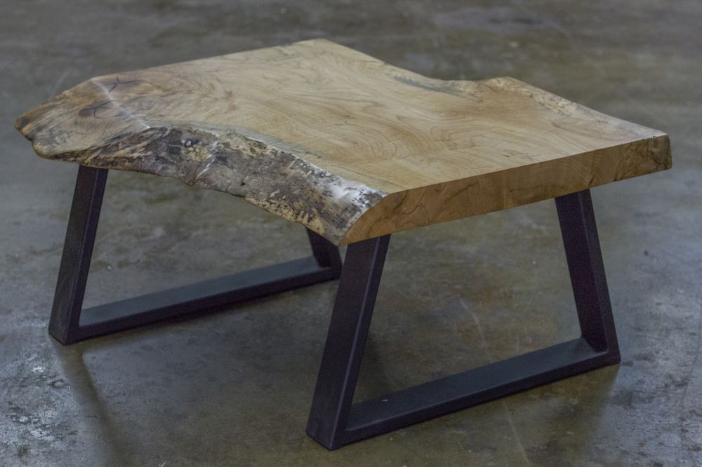 Rustic Modern Coffee Table With Live Edge Maple Burl Wood Slab And Metal Base We Handcrafted A