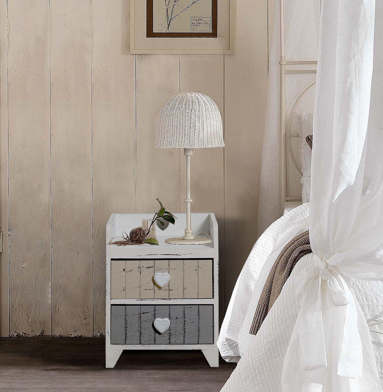 Comodino in stile shabby chic, in legno di Paulownia bianco, grigio ...