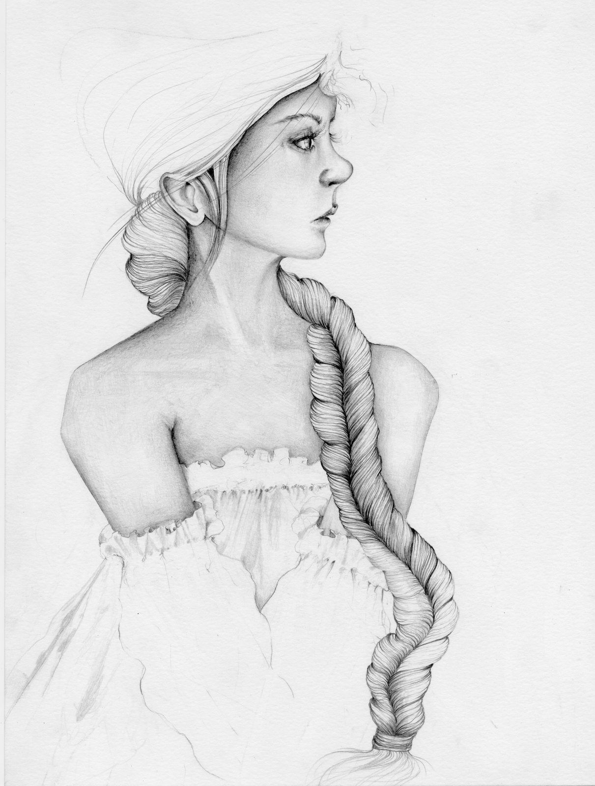 Pencil drawing of a girl woman drawing original art original