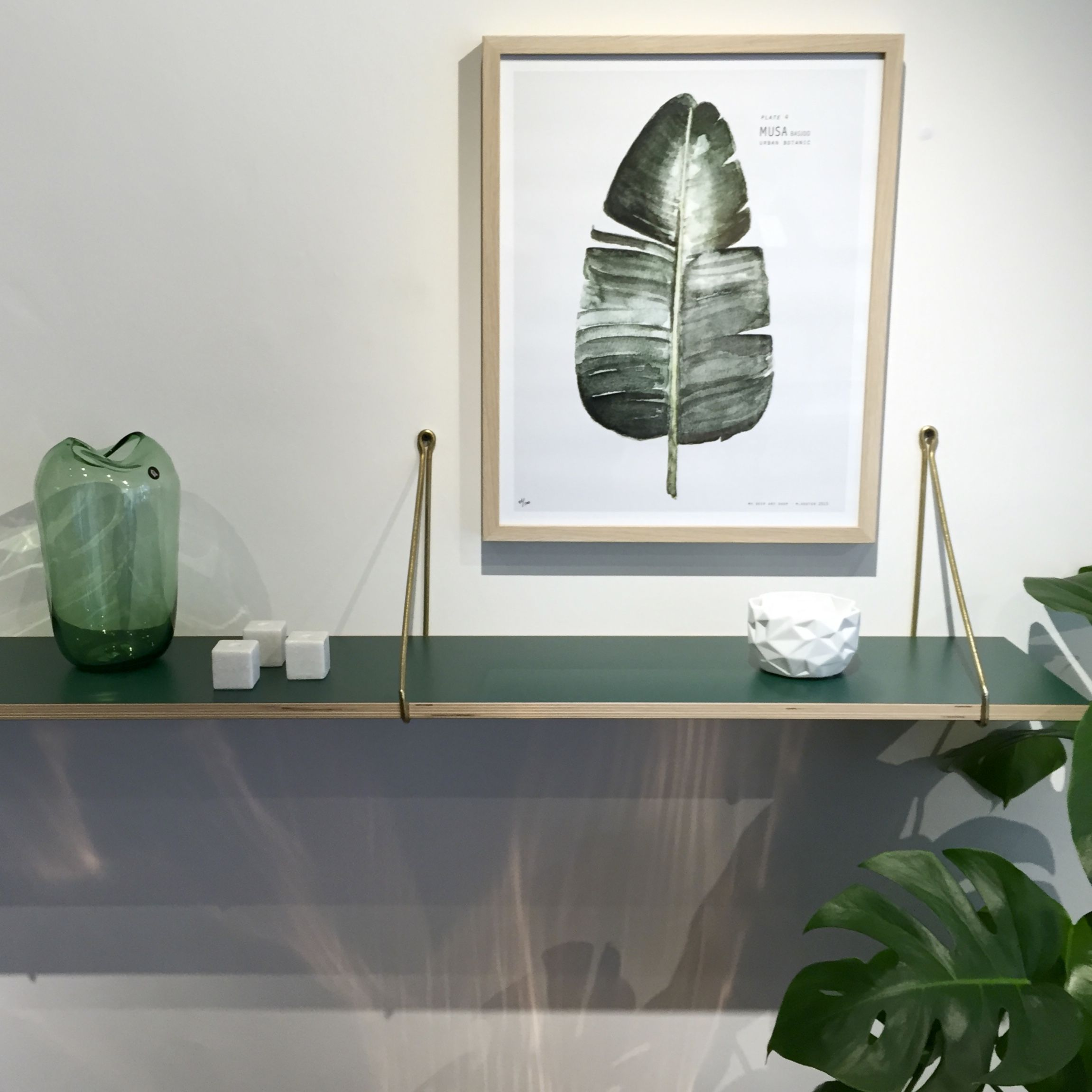Hunter Green Shelf with Brass hanging Brackets and Wave green ...