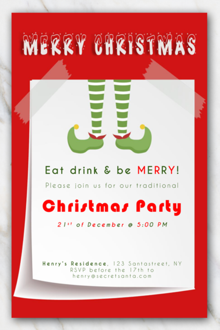 Elf Boots Printable Christmas Party Invitation Christmas Party Invitations Free Christmas Party Invitations Printable Christmas Invitations