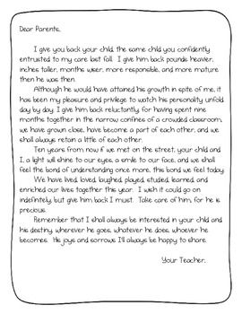 End Of The Year Parent Letter So Cute  End Of School Year