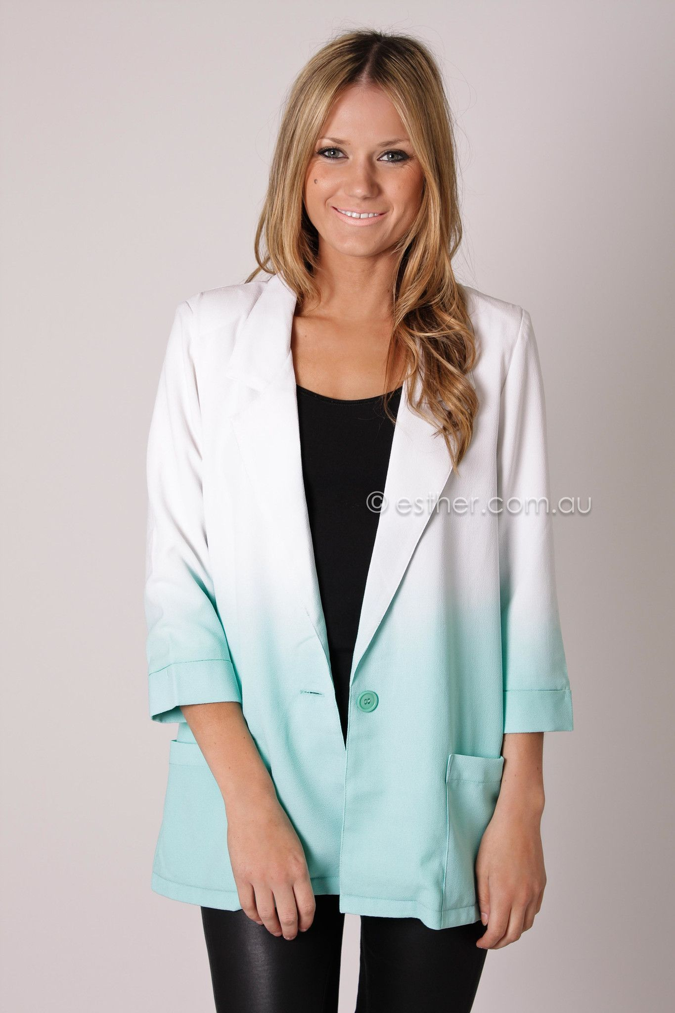 oracle dip dye blazer - white/mint