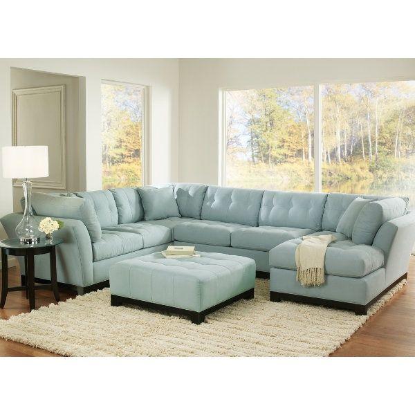 Unique Blue Sectional Sofa 4 Light Suede