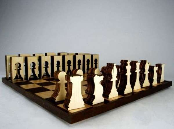 Contemporary Chess Set woodcut game sets | chess, chess sets and craft