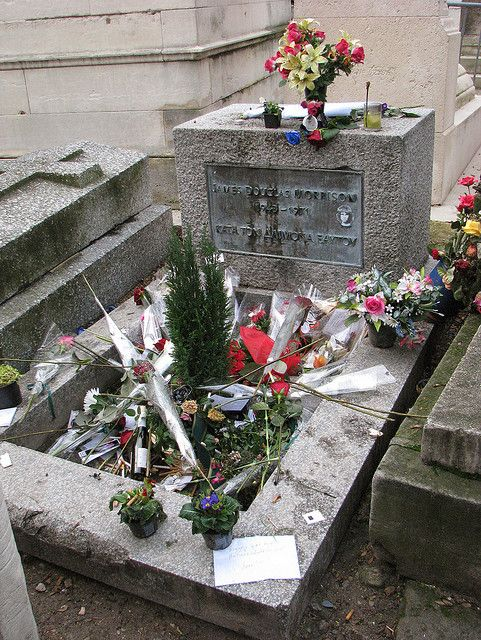 Great musician Jim Morrison's grave:  Morrison is buried in the Père Lachaise cemetery in eastern Paris, one of the city's most visited tourist attractions. The grave had no official marker until French officials placed a shield over it, which was stolen in 1973.
