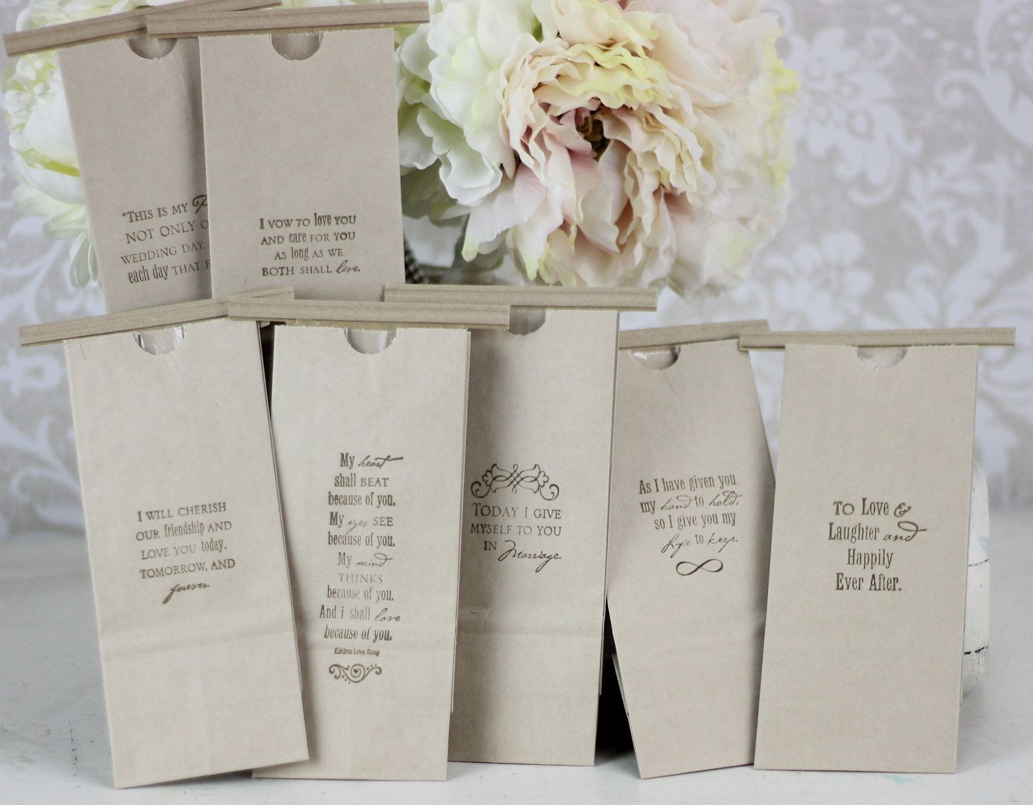 Wedding Favor Bags Kraft Paper Candy Cookies Popcorn Coffee Dessert Bar Love Quotes Set Of 100