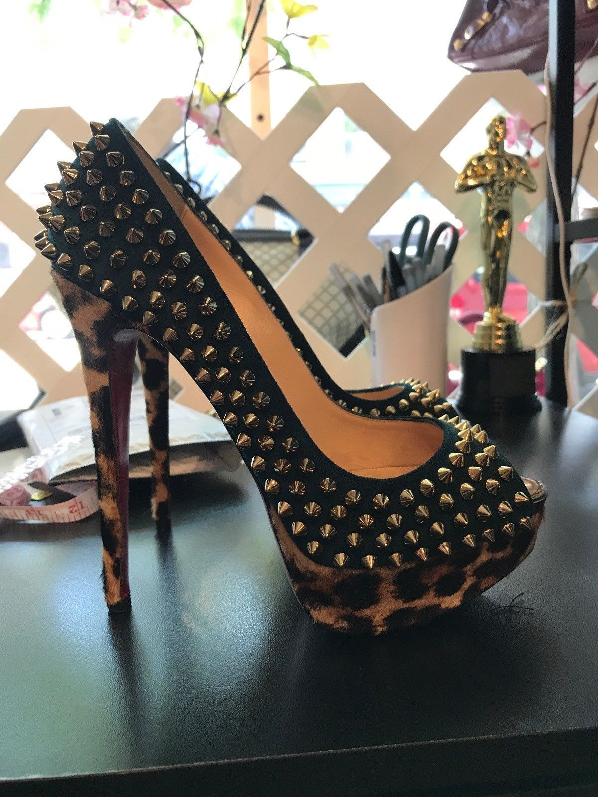 4467244ed3c Details about AUTH CHRISTIAN LOUBOUTIN Miss Poppins Leopard Pony ...