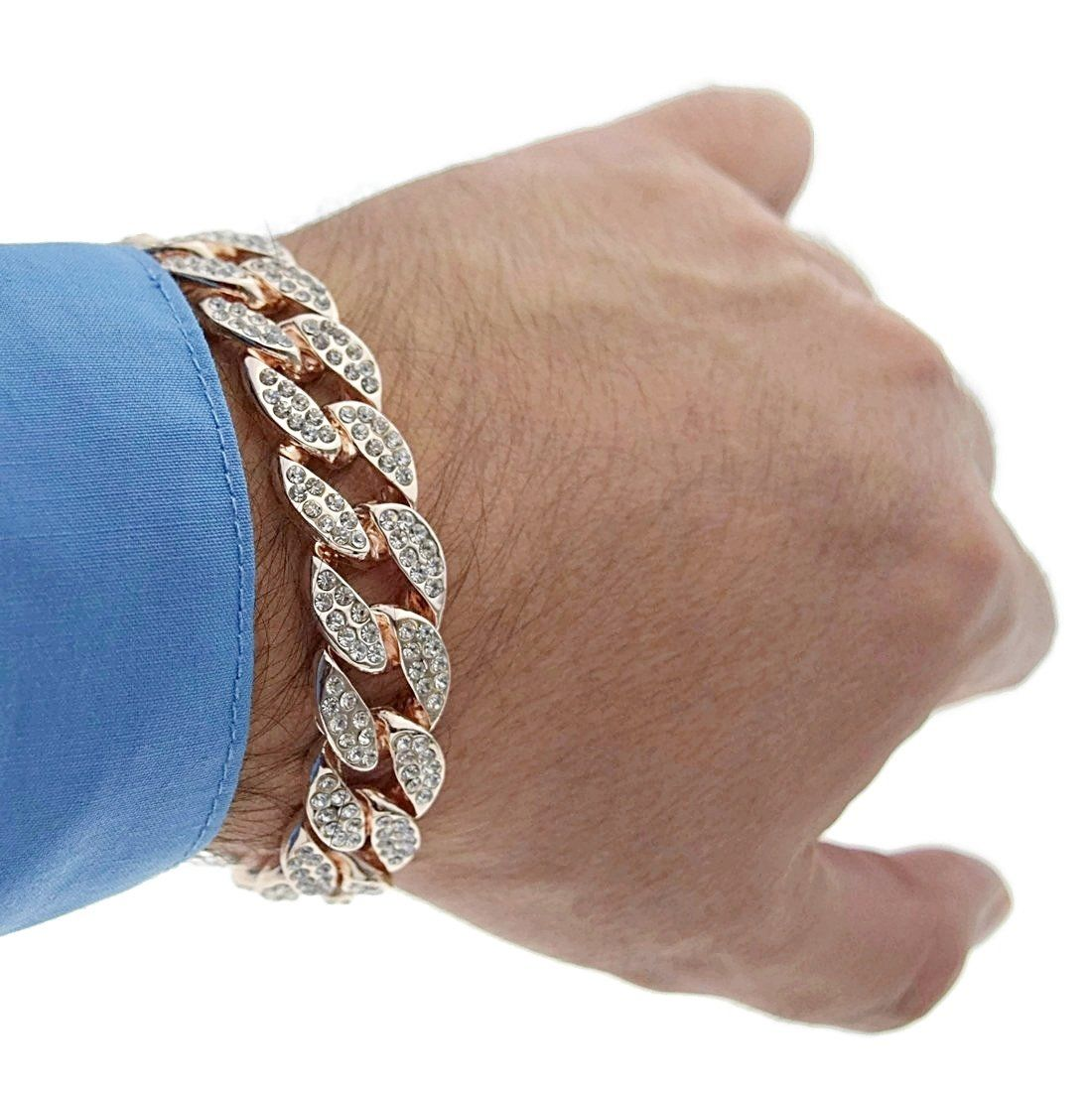 1fd8c653e4583 Miami Cuban Link 15mm Full Iced-out Hip Hop Fully Rose Gold Finish 8 ...