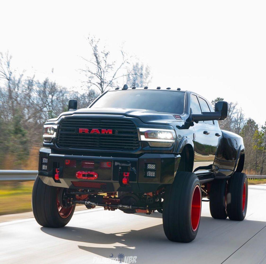 Lifted 2019 Ram 3500 Dually On 24 Wheels And 40 Tires Dodge Diesel Trucks Cummins Trucks Lifted Chevy Trucks
