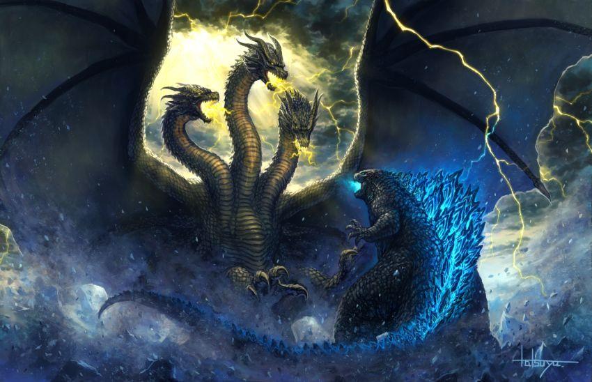 Godzilla vs King Ghidorah in the Storm Godzilla vs king